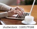 mature female hands typing text ... | Shutterstock . vector #1185179188