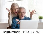 excited senior mature couple... | Shutterstock . vector #1185179242