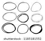 doodle set of black hand drawn... | Shutterstock .eps vector #1185181552