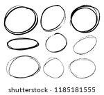 doodle set of black hand drawn... | Shutterstock .eps vector #1185181555