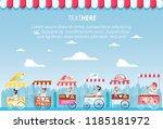 ice cream set kiosks shop | Shutterstock .eps vector #1185181972