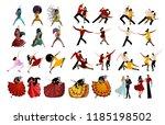 salsa mambo tango rumba dancers ... | Shutterstock .eps vector #1185198502