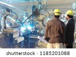 production engineer  real time... | Shutterstock . vector #1185201088