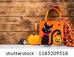 happy halloween with wood... | Shutterstock . vector #1185209518