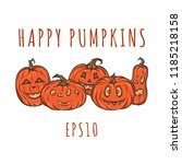 set of happy pumpkins for... | Shutterstock .eps vector #1185218158
