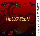 halloween bat night vector... | Shutterstock .eps vector #1185224278