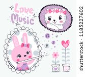 cute rabbit girl in doodle... | Shutterstock .eps vector #1185227602