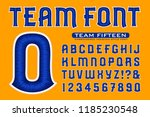 a sports font alphabet with... | Shutterstock .eps vector #1185230548