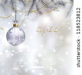 shiny christmas background with ... | Shutterstock .eps vector #118523812