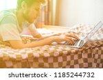 close up freelance male website ... | Shutterstock . vector #1185244732