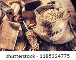 wooden pressed pellets and... | Shutterstock . vector #1185324775