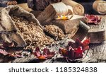 wooden pressed pellets and... | Shutterstock . vector #1185324838
