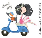 cute girl and dog are riding...   Shutterstock .eps vector #1185340195