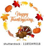 turkey and autumn element... | Shutterstock .eps vector #1185349018