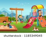 children playing at playground... | Shutterstock .eps vector #1185349045