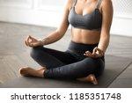 young sporty yogi woman... | Shutterstock . vector #1185351748