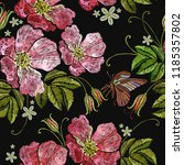 embroidery wild roses seamless... | Shutterstock .eps vector #1185357802