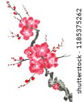 a branch of a blossoming tree....   Shutterstock . vector #1185375262