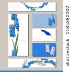 muscari set with visitcards and ... | Shutterstock .eps vector #1185382102