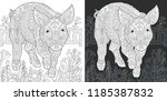 pig. coloring page. coloring... | Shutterstock .eps vector #1185387832