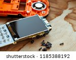 button cell phone disassembled... | Shutterstock . vector #1185388192