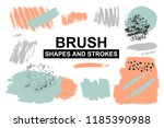 set of painted brush shapes.... | Shutterstock .eps vector #1185390988