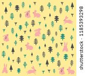 beautiful rabbits pattern of... | Shutterstock .eps vector #1185393298