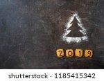 flour silhouette christmas tree ... | Shutterstock . vector #1185415342