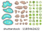 set of park elements.  top view ... | Shutterstock .eps vector #1185462622