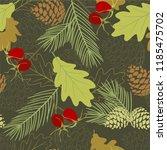 seamless pattern wiht oak... | Shutterstock .eps vector #1185475702