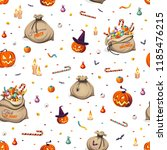 seamless pattern   pumpkins and ... | Shutterstock .eps vector #1185476215