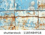 a rusty wall. blue and white... | Shutterstock . vector #1185484918