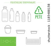 Stock vector pet pete polyethylene terephthalate symbol of plastic recycling and types of plastic products 1185488158