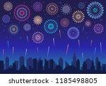 night city fireworks. holiday... | Shutterstock .eps vector #1185498805