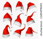 santa claus hats. christmas red ... | Shutterstock .eps vector #1185499045