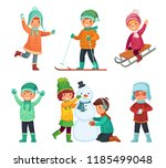 cartoon winter kids. children... | Shutterstock .eps vector #1185499048