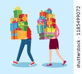 carry gifts stack. carrying... | Shutterstock .eps vector #1185499072