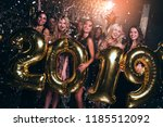 happy new year  beautiful young ... | Shutterstock . vector #1185512092