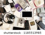 used modern electronic gadgets...   Shutterstock . vector #1185513985