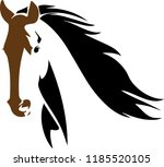 Stock vector mid light brown horse head with rich hair on neck 1185520105