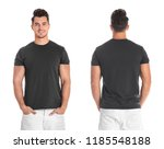 young man in blank black t... | Shutterstock . vector #1185548188