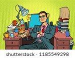 businessman  workplace. pop art ... | Shutterstock .eps vector #1185549298