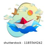 origami paper ship toy swimming ... | Shutterstock .eps vector #1185564262