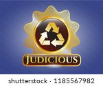 golden emblem with recycle... | Shutterstock .eps vector #1185567982