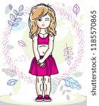 beautiful little blonde girl... | Shutterstock .eps vector #1185570865