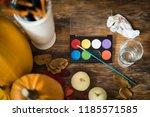 diy halloween concept. art and...   Shutterstock . vector #1185571585