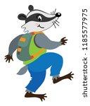 funny badger walking or sneaks... | Shutterstock .eps vector #1185577975