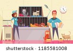 Stock vector animal shelter horizontal illustration with pets sitting in cages and volunteers feeding animals 1185581008