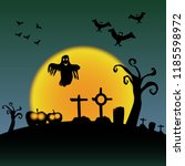 scary halloween graveyard with... | Shutterstock .eps vector #1185598972