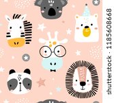 Stock vector seamless childish pattern with funny animals faces creative scandinavian kids texture for fabric 1185608668